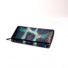 Wide genuine python leather wallet in Blue-Turquoise color ACC/4