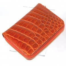 Orange crocodile wallet for women