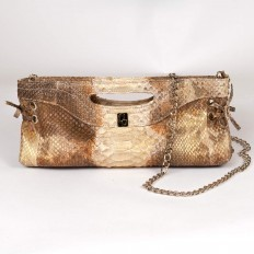 "pochette in genuine python in ""Gold sand"" color"