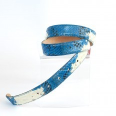 GLENI's belt for women in sky blue and white python leather
