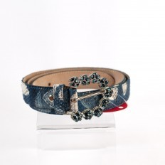 Original belt in the Design Blue python color with shining buckle