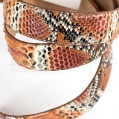 Details orange python belt
