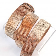 Soft belt genuine python leather by GLENI in Caramel