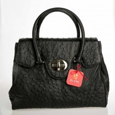 Genuine ostrich leather handbag