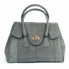"""Dedizione"" handbag in grey anaconda leather from GLENI"