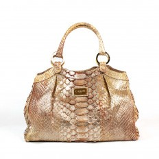 """Femme"" handbag in laminated gold python"