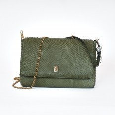 Green pochette in genuine python
