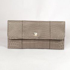 Vera pochette in clay-colored crocodile