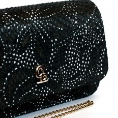 genuine python black bag with laser flowers