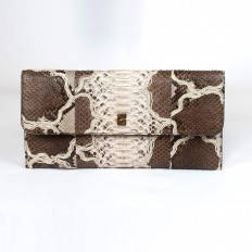 Vera pochette in embroidered python milk and coffee