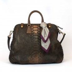 Wide Wanderer bag in giant python