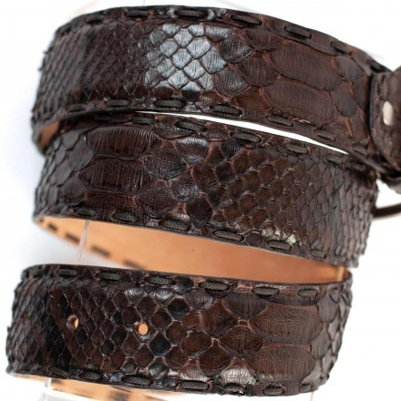 Belt GLENI for man in precious dark brown python leather