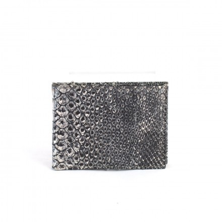 Wallet 118 in reticulated python with jeans effect