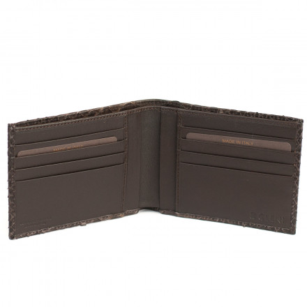 Wallet ACC / 124 in genuine dark brown python leather