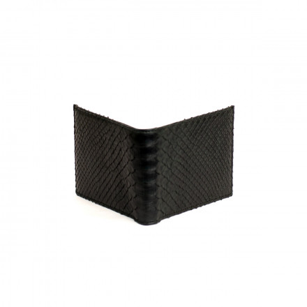 Men's wallet in genuine black python leather