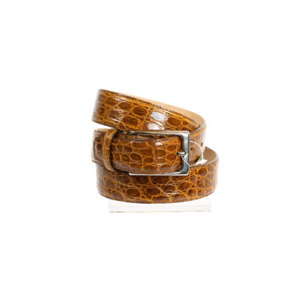 Men's belt in honey crocodile