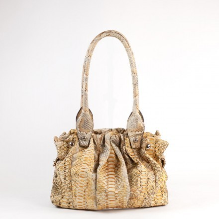"""Rosalie"" handbag in yellow and grey python"