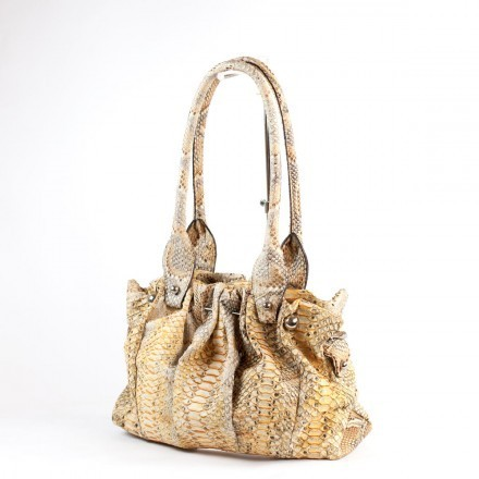 """Rosalie"" handbag in yellow and grey python leather by GLENI"