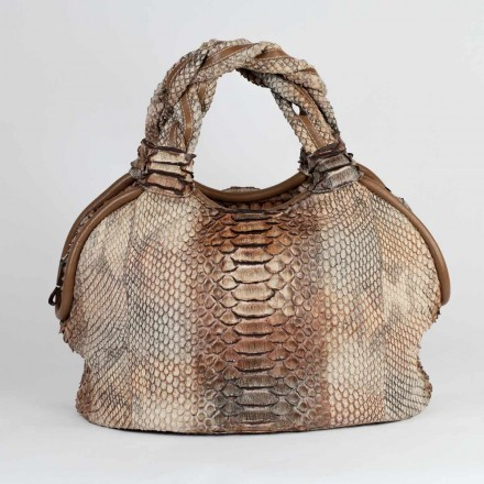 Round-shaped tote python bag with braided short handles