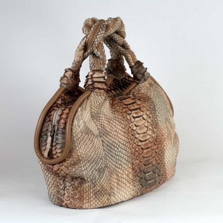 Round-shaped tote python bag with braided handles