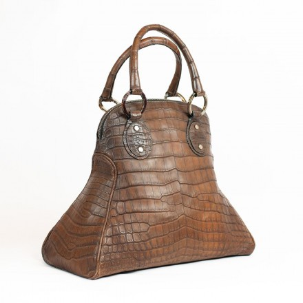 handbag in genuine crocodile italian tanned leather