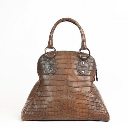 Handbag in genuine crocodile