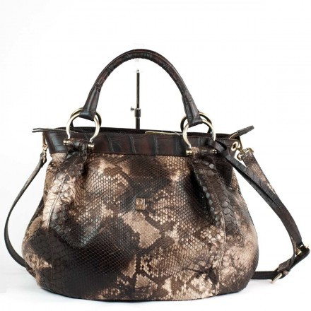 Soft bag in back cut python in cappuccino color