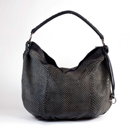 Shopper bag in black Anaconda leather