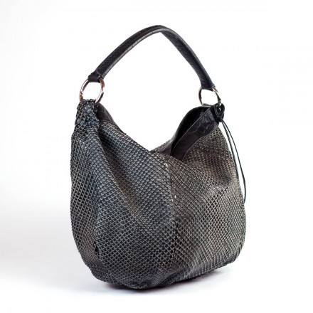 Shopper bag in black anaconda