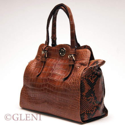 Handbag with front made of genuine crocodile leather