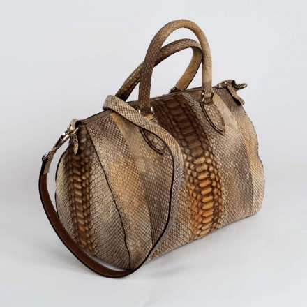 Genuine python bag in light brown with golden shades