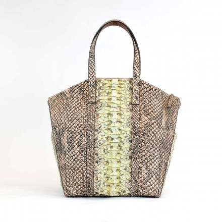 Gracious tote in giant green python by GLENI