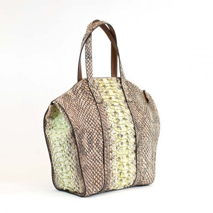 Unique and gracious tote in giant green python leather