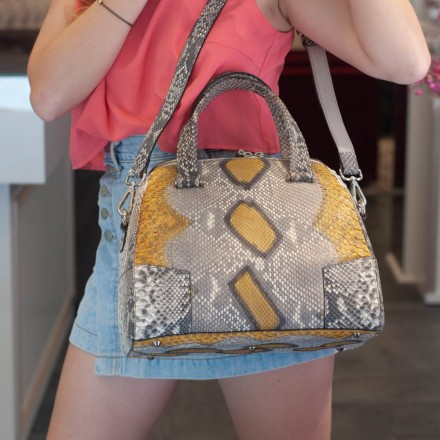 Satchel bag in genuine yellow and gray python leather