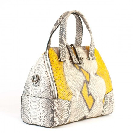 Semi-rigid bag in genuine yellow and grey python leather