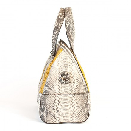 Bag made of real roccia python and yellow GLENI