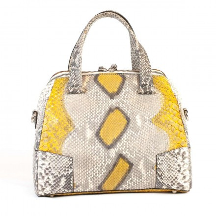 Trapezoidal duffel bag in genuine Indian Yellow python leather