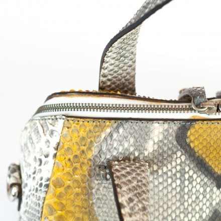 Yellow and gray python bag worn by GLENI