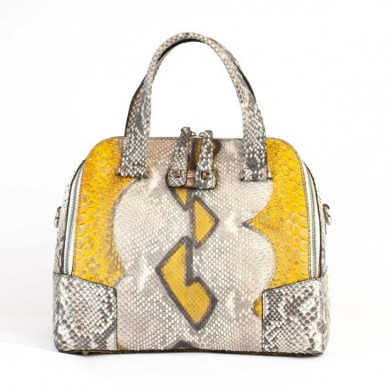 66/5000 Trapezoidal rounded bag in genuine Yellow Indian GLENI python leather