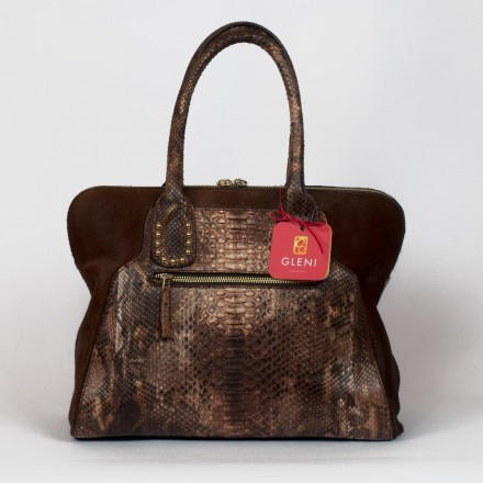 python and calf-hair hobo bag