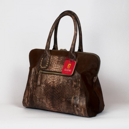 handbag in genuine python and calf-hair