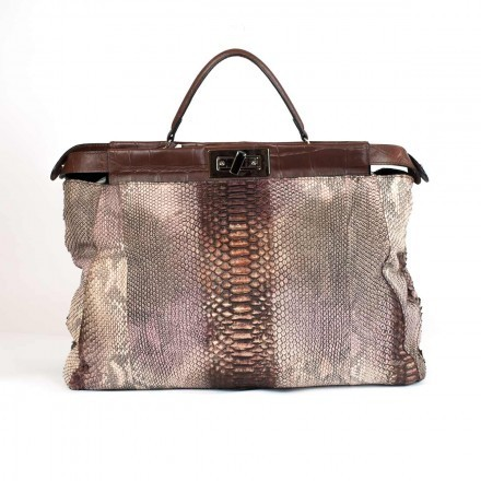 Genuine python handbag with nabuk effect and leather details