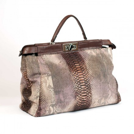 GLENI handbag in genuine python with nabuk effect