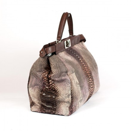 Genuine python handbag with leather details