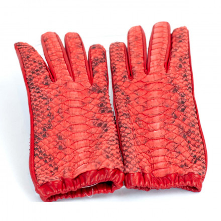Women's gloves in real red python leather