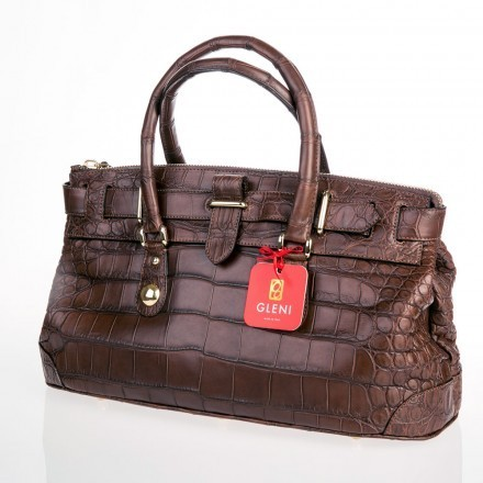 Handbag in genuine crocodile leather