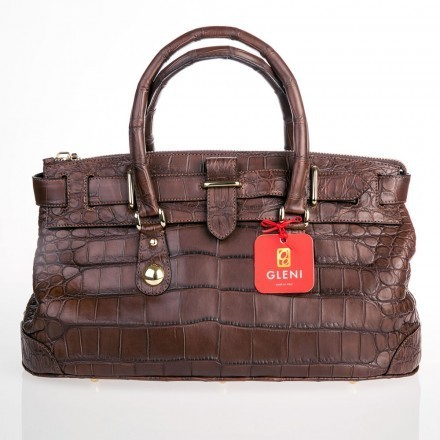 Queen bag in chocolate crocodile