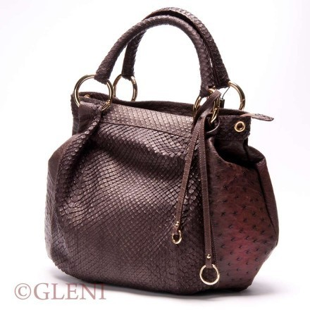 Mix ostrich and anaconda leather bag