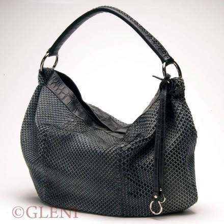 Delicious shopper bag in Anaconda leather, black-grey