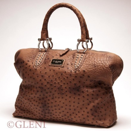 Wide genuine ostrich leather handbag in brown tonality